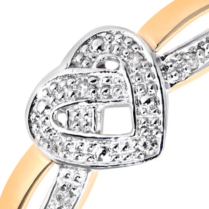 9ct Yellow Gold Diamond Heart Ring