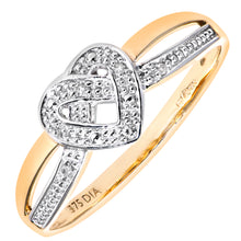 Load image into Gallery viewer, 9ct Yellow Gold Diamond Heart Ring