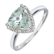 Load image into Gallery viewer, 9ct White Gold Triangular Cut Green Amethyst And Diamond Ring