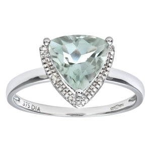 9ct White Gold Triangular Cut Green Amethyst And Diamond Ring