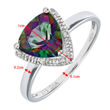 Load image into Gallery viewer, 9ct White Gold Triangular Cut Green Mystic Topaz And Diamond Ring