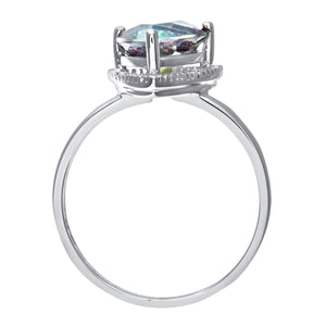 9ct White Gold Triangular Cut Green Mystic Topaz And Diamond Ring