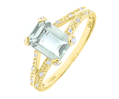 9ct White Gold Emerald Cut Green Amethyst Ring With Diamond Shoulders