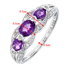 Load image into Gallery viewer, 9ct White Gold Amethyst And Diamond Fig 8 Design Ring