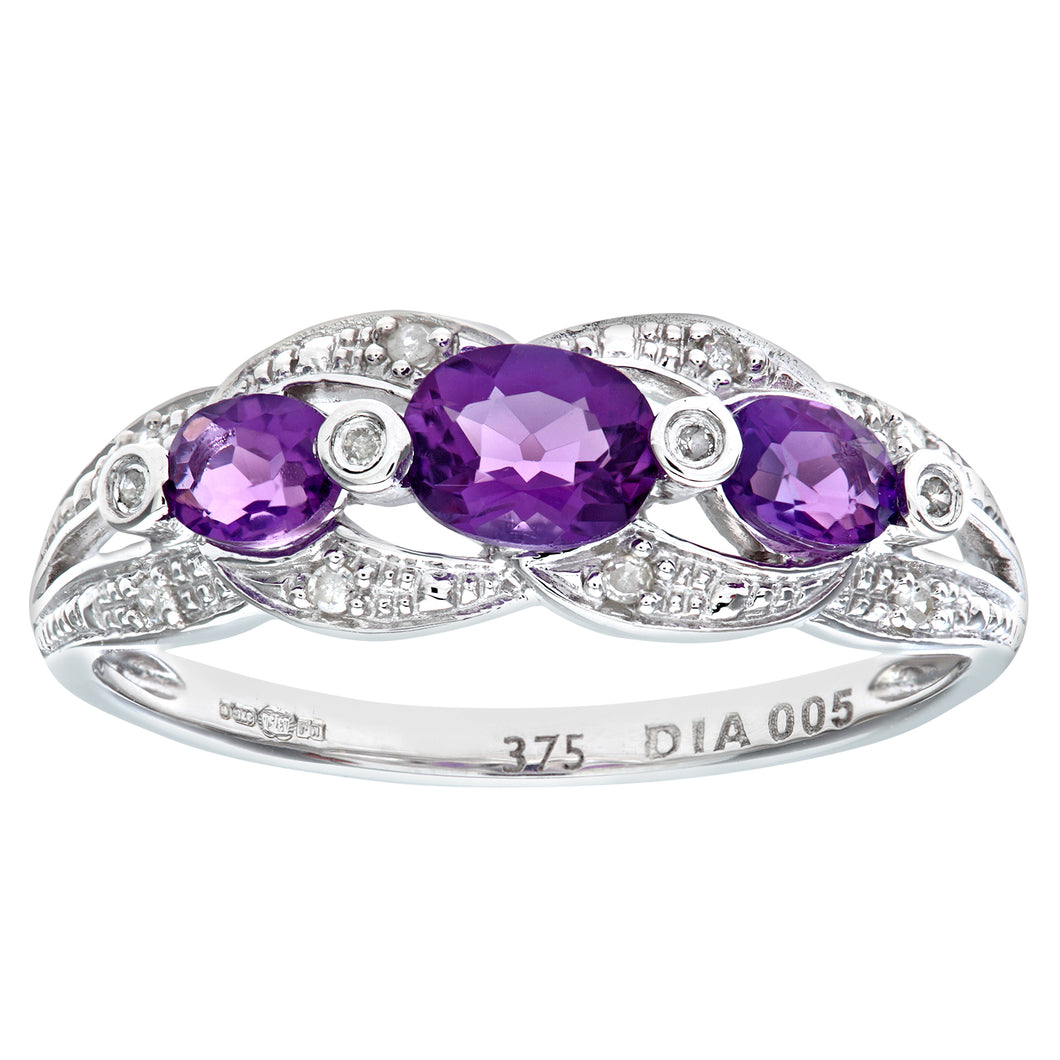 9ct White Gold Amethyst And Diamond Fig 8 Design Ring