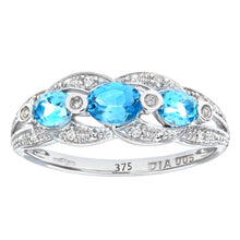 Load image into Gallery viewer, 9ct White Gold Blue Topaz And Diamond Fig 8 Design Ring