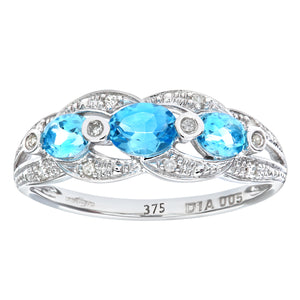 9ct White Gold Blue Topaz And Diamond Fig 8 Design Ring