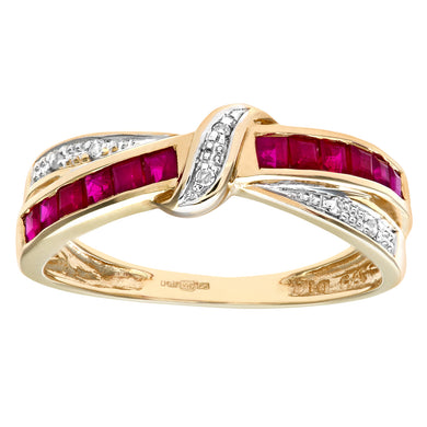 9ct Yellow Gold Ruby And Diamond Bow Ring