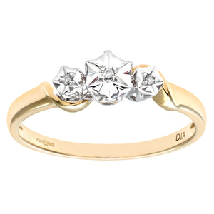 Ladies 9ct Yellow Gold Diamond Accent Ring