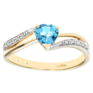 Ladies 9ct Yellow Gold Diamond and Heart Blue Topaz Ring