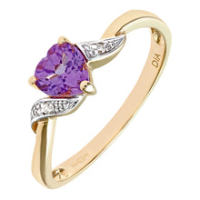 Load image into Gallery viewer, 9ct Yellow Gold Amethyst And Diamond Heart Ring