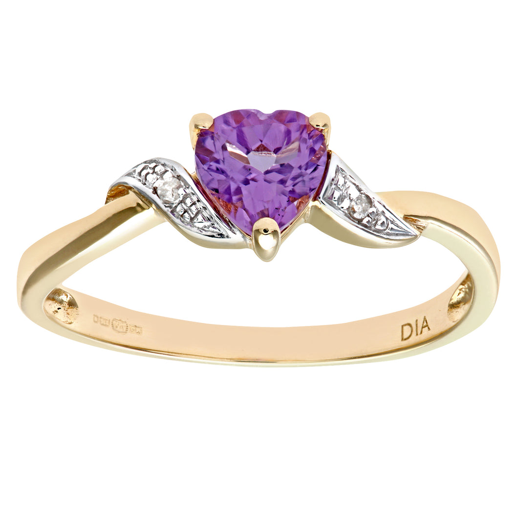 9ct Yellow Gold Amethyst And Diamond Heart Ring