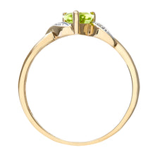 Load image into Gallery viewer, 9ct Yellow Gold Peridot And Diamond Heart Ring