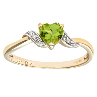 9ct Yellow Gold Peridot And Diamond Heart Ring