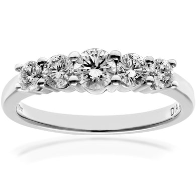 Eternity Ring, 18ct White Gold H/SI Round Brilliant Certified Diamond Ring, 0.75ct Diamond Weight