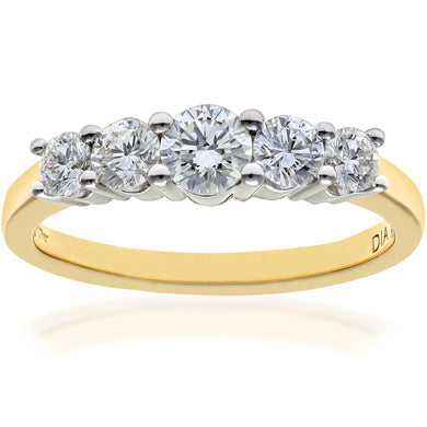 Eternity Ring, 18ct Yellow Gold H/SI Round Brilliant Certified Diamond Ring, 0.75ct Diamond Weight