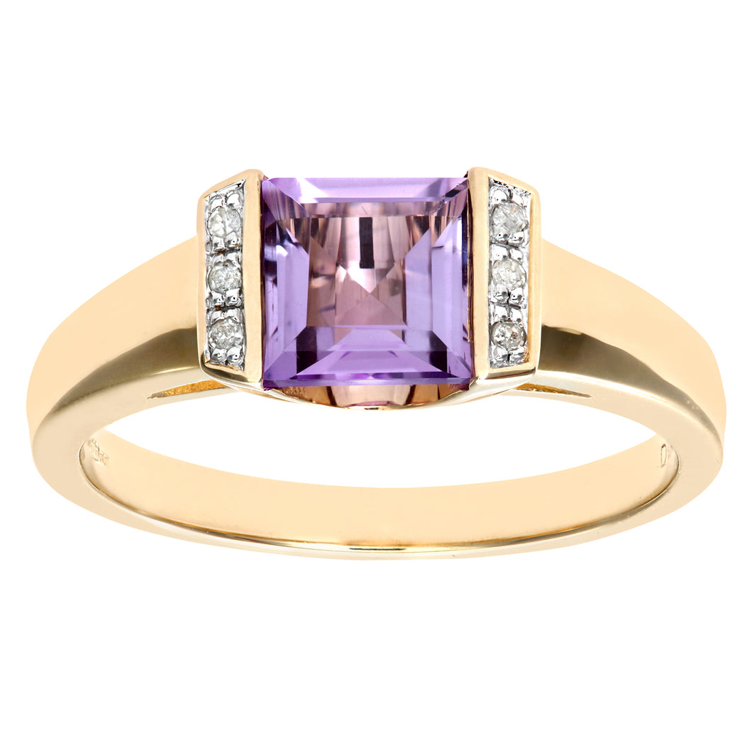 Ladies 9ct Yellow Gold Diamond and Amethyst Dress Ring