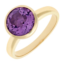 Load image into Gallery viewer, Ladies 9ct Yellow Gold Amethyst Dress Ring