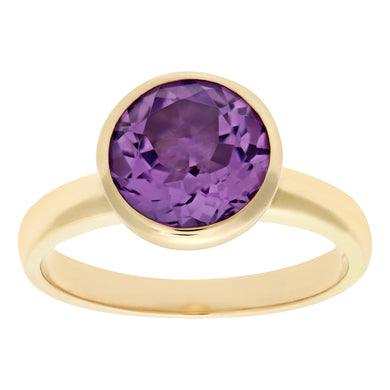 Ladies 9ct Yellow Gold Amethyst Dress Ring