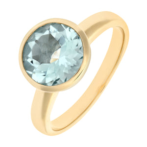 Ladies 9ct Yellow Gold Aquamarine Dress Ring