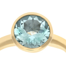 Load image into Gallery viewer, Ladies 9ct Yellow Gold Aquamarine Dress Ring