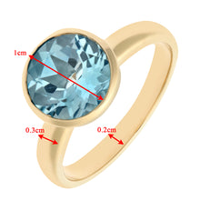 Load image into Gallery viewer, Ladies 9ct Yellow Gold Blue Topaz Dress Ring