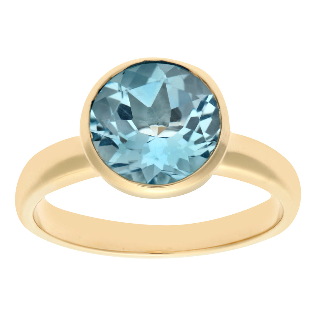 Ladies 9ct Yellow Gold Blue Topaz Dress Ring