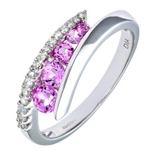 Load image into Gallery viewer, 9ct White Gold Diamond & Creative Pink Topaz Crossover Ring