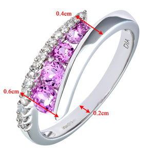 9ct White Gold Diamond & Creative Pink Topaz Crossover Ring
