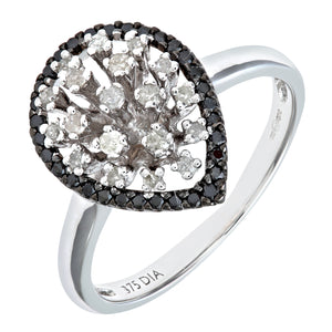 9ct White Gold Black Diamond Pear Shaped Ring
