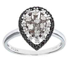 Load image into Gallery viewer, 9ct White Gold Black Diamond Pear Shaped Ring