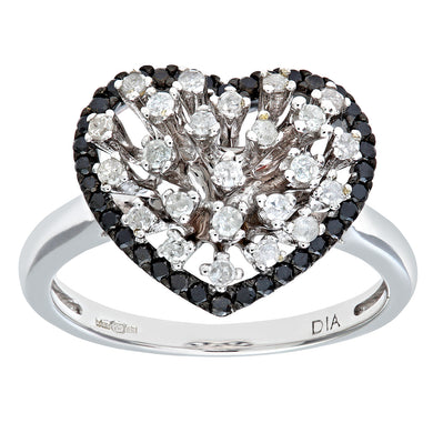 9ct White Gold Black Diamond Heart Ring