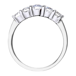Eternity Ring, 18ct White Gold H/SI Round Brilliant Certified Diamond Ring, 1.00ct Diamond Weight