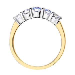 Eternity Ring, 18ct Yellow Gold H/SI Round Brilliant Certified Diamond Ring, 1.00ct Diamond Weight