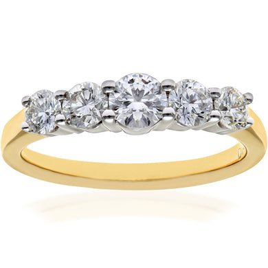 Eternity Ring, 18ct Yellow Gold IJ/I Round Brilliant Certified Diamond Ring, 1.00ct Diamond Weight