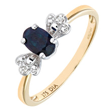 Load image into Gallery viewer, Ladies 9ct Yellow Gold Diamond and Sapphire Bow Ring