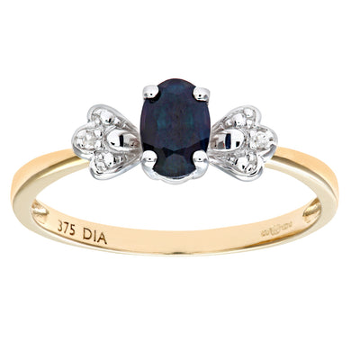 Ladies 9ct Yellow Gold Diamond and Sapphire Bow Ring