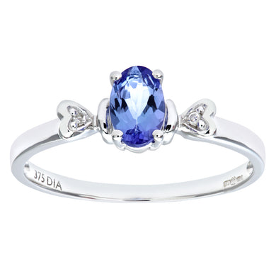 9ct White Gold Tanzanite Ring With Diamond Set Heart Shoulders