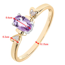 Load image into Gallery viewer, Ladies 9ct Yellow Gold Fancy Diamond and Amythyst Ring