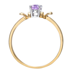 Ladies 9ct Yellow Gold Fancy Diamond and Amythyst Ring