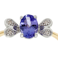 Load image into Gallery viewer, 9ct Yellow Gold Tanzanite and Diamond Butterfly Ring