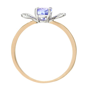 9ct Yellow Gold Tanzanite and Diamond Butterfly Ring