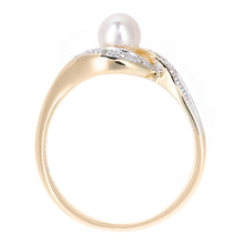 Load image into Gallery viewer, 9ct Yellow Gold, 0.05ct Diamonds with White Cultured pearl Ring