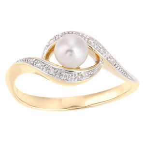 9ct Yellow Gold, 0.05ct Diamonds with White Cultured pearl Ring