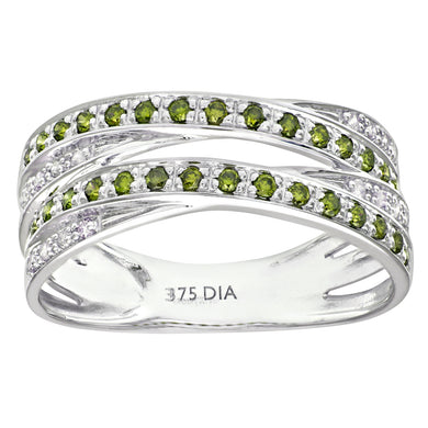 9ct White Gold Green Diamond Multi Row Crossover Ring