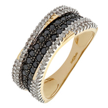 Load image into Gallery viewer, 9ct Yellow Gold Black Diamond Multi Row Eternity Ring