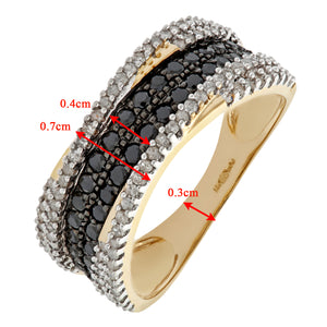 9ct Yellow Gold Black Diamond Multi Row Eternity Ring