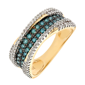 9ct Yellow Gold Blue Diamond Multi Row Eternity Ring