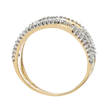Load image into Gallery viewer, 9ct Yellow Gold Blue Diamond Multi Row Eternity Ring