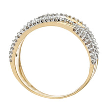 Load image into Gallery viewer, 9ct Yellow Gold Green Diamond Multi Row Eternity Ring